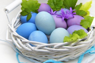 Pastel Colored Eggs in White Basket, Photo by silviarita