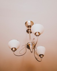 Canva - White and Brass Uplight Chandelier